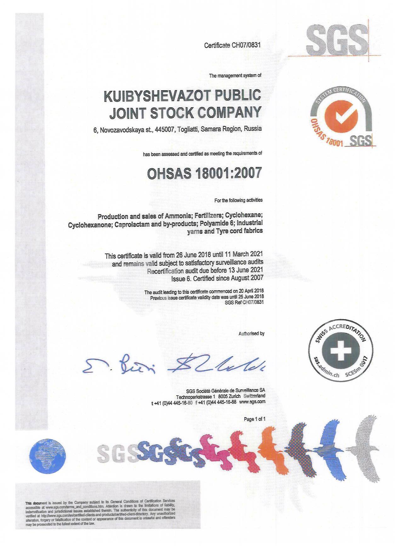 Certificate OHSAS 18001:2007